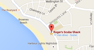 Map to Roger's Scuba Shack